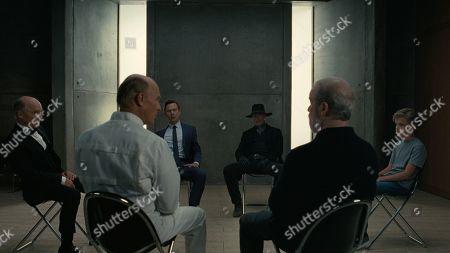 Ed Harris as Man in Black, Jimmi Simpson as William, Peter Mullan as James Delos and Zayd Kiszonak as Child William