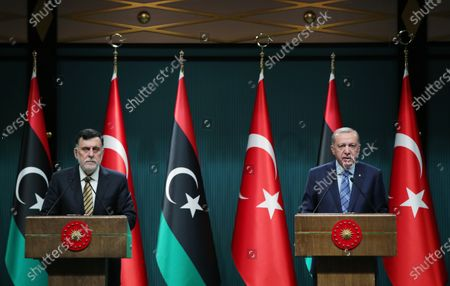 Turkish President Recep Tayyip Erdogan (R) and visiting Libya's UN-recognized Government of National Accord (GNA) Prime Minister Fayez al-Sarraj hold a joint press conference in Ankara, Turkey, on June 4, 2020. Turkey and Libya agreed to further enhance their cooperation in the Eastern Mediterranean over a deal made on maritime delimitation, Turkish President Recep Tayyip Erdogan said on Thursday.