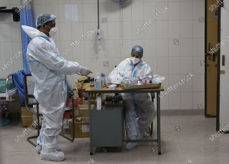 Medical workers in PPE kits at the Flu Centre at Aruna Asif Ali Hospital, on June 4, 2020 in New Delhi, India.