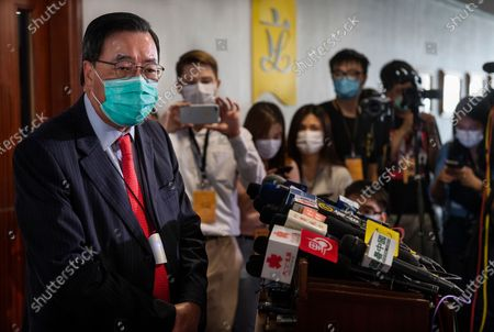 Speaker of the Legislative Council, Andrew Leung Kwan-yuen, talks to the press after the vote of the National Anthem Bill as the at the Legislative Council in Hong Kong, on June 4, 2020.