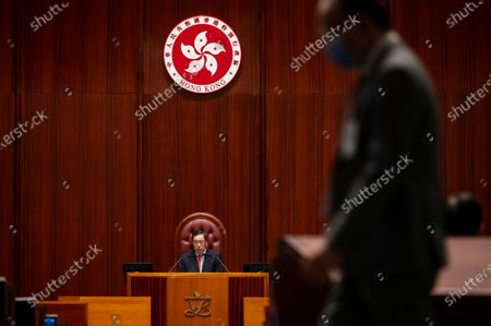 Speaker of the Legislative Council, Andrew Leung Kwan-yuen, sits ahead of a vote of the National Anthem Bill as the at the Legislative Council in Hong Kong, on June 4, 2020.