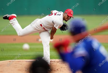 Ricardo Antonio Pinto of SK Wyverns during the Korea Baseball League match between Samsung Lions and SK Wyverns at the Incheon SK HaengBok Dream Stadium in Incheon, South Korea on June 5, 2020.
