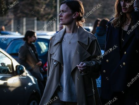 Stock Picture of MILAN, Italy- February 19 2020: Jo Ellison on the street during the Milan Fashion Week.