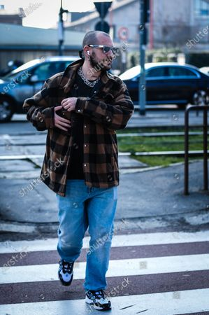 MILAN, Italy- February 19 2020: Marc Goehring on the street during the Milan Fashion Week.