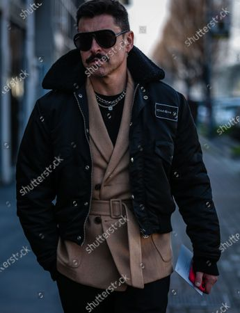 MILAN, Italy- February 19 2020: Alex Badia on the street during the Milan Fashion Week.