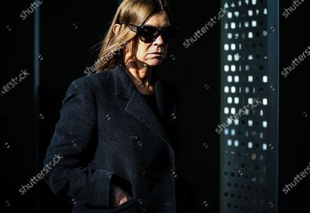 MILAN, Italy- February 19 2020: Carine Roitfeld on the street during the Milan Fashion Week.