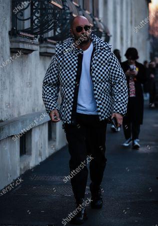MILAN, Italy- January 12 2020: Milan Vukmirovic on the street during the Milan Fashion Week.