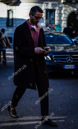 MILAN, Italy- January 12 2020: Simone Marchetti on the street during the Milan Fashion Week.