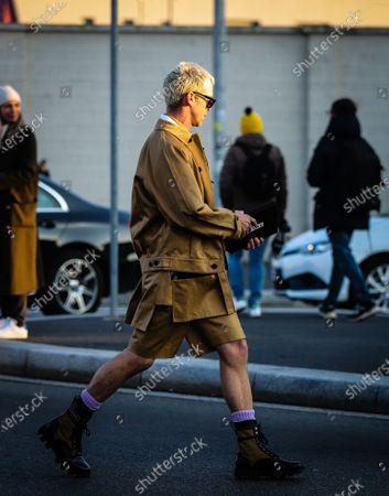 MILAN, Italy- January 12 2020: Chris Burt Allan on the street during the Milan Fashion Week.