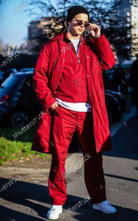MILAN, Italy- January 12 2020: River Viiperi on the street during the Milan Fashion Week.