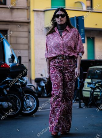 MILAN, Italy- January 12 2020: Alessandra Airo' on the street during the Milan Fashion Week.
