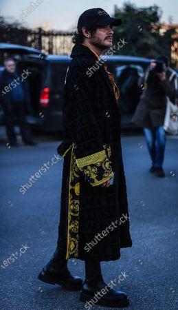 Stock Picture of MILAN, Italy- January 12 2020: Luke Jefferson Day on the street during the Milan Fashion Week.