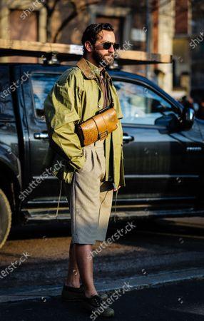 MILAN, Italy- January 13 2020: Matthew Zorpas on the street during the Milan Fashion Week.