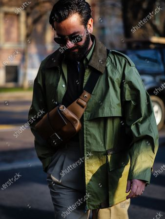 Stock Picture of MILAN, Italy- January 13 2020: Matthew Zorpas on the street during the Milan Fashion Week.