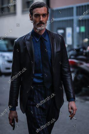 MILAN, Italy- January 13 2020: Richard Biedul on the street during the Milan Fashion Week.