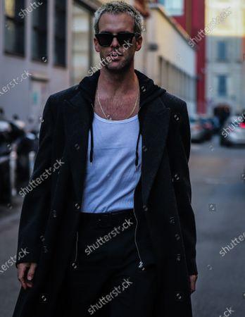 MILAN, Italy- January 13 2020: Chris Burt Allan on the street during the Milan Fashion Week.