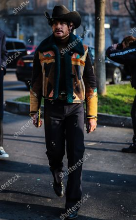 Stock Photo of MILAN, Italy- January 13 2020: Luke Jefferson Day on the street during the Milan Fashion Week.