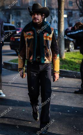 Stock Image of MILAN, Italy- January 13 2020: Luke Jefferson Day on the street during the Milan Fashion Week.