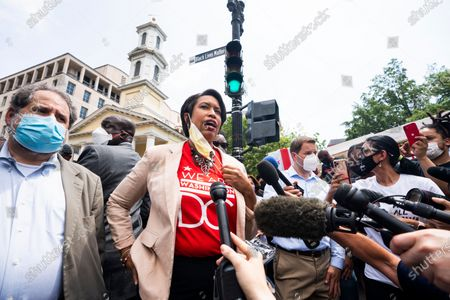 DC Mayor Muriel Bowser speaks after announcing that she is renaming a section of 16th street 'Black Lives Matter Plaza' in Washington, DC, USA, 05 June 2020. The street is across from the White House and is the location of seven days of protests in DC over the death of George Floyd. Earlier in the day, with permission from the city, volunteers painted the words 'Black Lives Matter' in giant letters on the street.