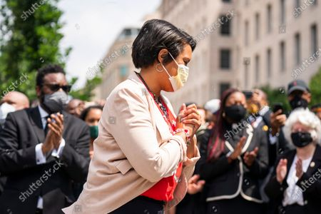 DC Mayor Muriel Bowser prepares to announce that she is renaming a section of 16th street 'Black Lives Matter Plaza' in Washington, DC, USA, 05 June 2020. The street is across from the White House and is the location of seven days of protests in DC over the death of George Floyd. Earlier in the day, with permission from the city, volunteers painted the words 'Black Lives Matter' in giant letters on the street.