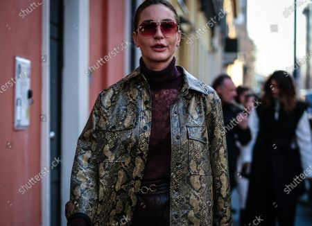 MILAN, Italy- February 21 2020: Ece Sukan on the street during the Milan Fashion Week.