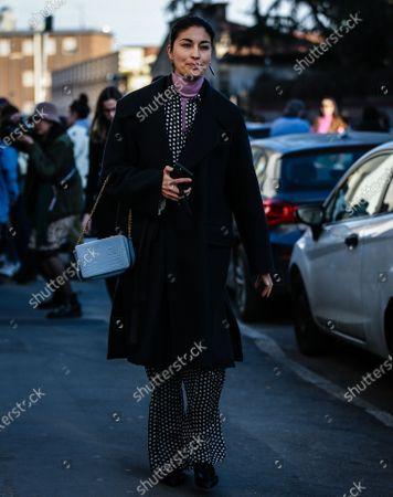 MILAN, Italy- February 21 2020: Caroline Issa on the street during the Milan Fashion Week.