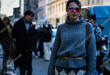 MILAN, Italy- February 21 2020: Doina Ciobanu on the street during the Milan Fashion Week.