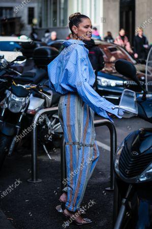MILAN, Italy- February 21 2020: Helena Bordon on the street during the Milan Fashion Week.