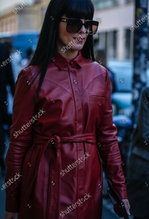 Stock Image of MILAN, Italy- February 21 2020: Laura Comolli on the street during the Milan Fashion Week.