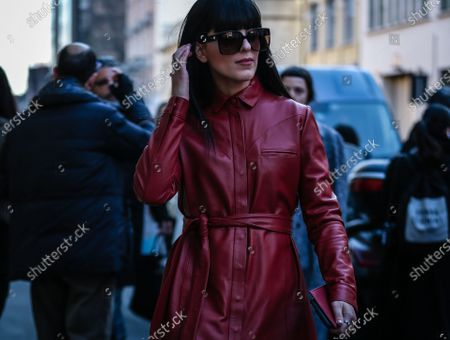 Stock Picture of MILAN, Italy- February 21 2020: Laura Comolli on the street during the Milan Fashion Week.