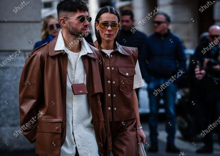 MILAN, Italy- February 21 2020: Jean-Sebastian Roques and Alice Barbier on the street during the Milan Fashion Week.