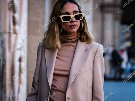 MILAN, Italy- February 21 2020: Candela Pelizza on the street during the Milan Fashion Week.