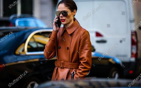 MILAN, Italy- February 21 2020: Coco Rocha on the street during the Milan Fashion Week.