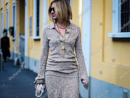 MILAN, Italy- February 21 2020: Lisa Aiken  on the street during the Milan Fashion Week.