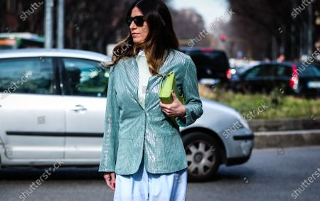 MILAN, Italy- February 21 2020: Alessandra Airo' on the street during the Milan Fashion Week.
