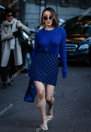 MILAN, Italy- February 22 2020: Jessica Wang on the street during the Milan Fashion Week.