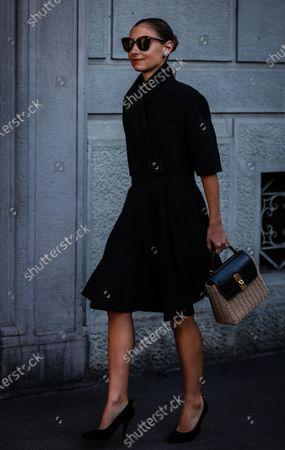 MILAN, Italy- February 22 2020: Jenny Walton on the street during the Milan Fashion Week.
