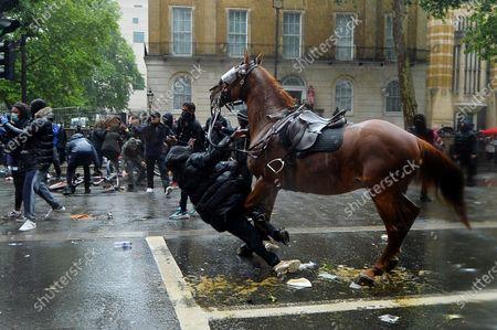 A protesters gets struck by a loose police horse as police try to clear a demonstration against racism on Whitehall, London.