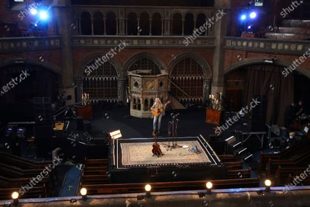 British singer songwriter Laura Marling performs at the Union Chapel in north London, The concert is set to be live-streamed online to a limited number of ticket holders and will involve skeletal staff and crew due to the ongoing COVID-19 pandemic
