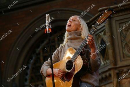 British singer songwriter Laura Marling performs at the Union Chapel in north London, with the gig set to be live-streamed online to a limited number of ticketholders. The performance features a full set of songs from her catalogue along with songs from her new album 'Song For Our Daughter', and will involve skeletal staff and crew, during a period of time of widespread artist live show global postponement