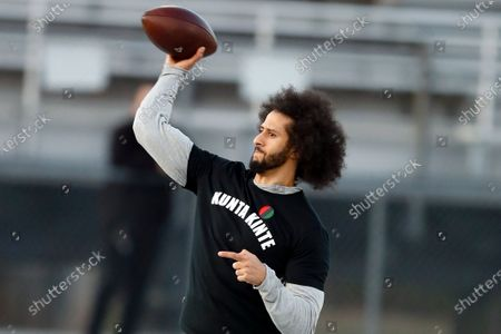 Free agent quarterback Colin Kaepernick participates in a workout for NFL football scouts and media in Riverdale, Ga. Kaepernick was a second-round draft pick in 2011 who the next year led the San Francisco 49ers to the Super Bowl. By 2016, he had begun kneeling on the sideline at games during the national anthem to protest social injustice and police brutality. Soon after, he was gone from the NFL, and he has not played since