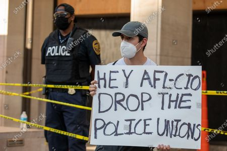 Protesters outside of the AFL-CIO building during a march against police brutality and racism