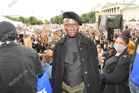 Papis Loveday joins protesters at a Black Lives Matter protest