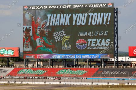 """Big Hoss"""", the video board along the backstretch shows a farewell message to Tony Kanaan during an IndyCar auto race at Texas Motor Speedway in Fort Worth, Texas"""