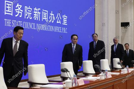 (2-L to R) Xu Lin, Vice head of the publicity department of the CPC central committee and minister of the the state council information office, Ma Xiaowei, Minister of National Health Commission, Wang Zhigang, Minister of Science and Technology and Ma Zhaoxu, Vice Minister of Foreign Affairs arrive for a press conference by the State Council Information Office to release the White Paper on fighting COVID-19 China in action, in Beijing, China, 07 June 2020.