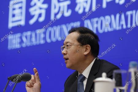 Ma Zhaoxu, Vice Minister of Foreign Affairs, speaks during a press conference by the State Council Information Office to release the White Paper on fighting COVID-19 China in action, in Beijing, China, 07 June 2020.