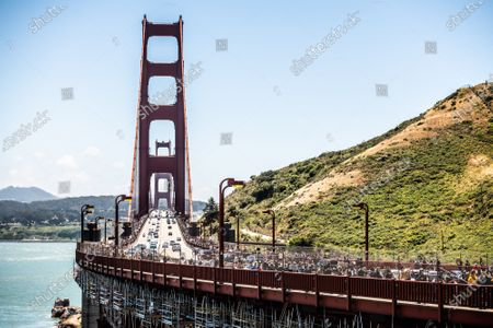Protestors demonstrate on the Golden Gate Bridge after the death of George Floyd.
