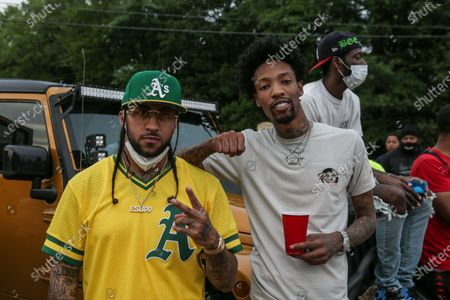 E-Sudd and Producer Sonny Digital attends The Parking Lot Concert series after more than two months of a lockdown caused by the coronavirus pandemic at Murphy Park Fairgrounds