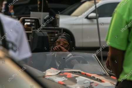 Rapper 2 Chainz attends Skooly' s parking lot concert series after more than two months of a lockdown caused by the coronavirus pandemic at Murphy Park Fairgrounds