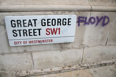 Graffiti daubed in Parliament square by Black Lives Matter protesters in support of African American George Floyd who died in police custody on 25 May